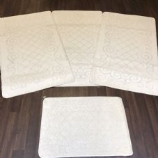 ROMANY GYPSY WASHABLES SET OF 4 TOURER SIZES 67X120CM MATS/RUGS CREAM/CREAM